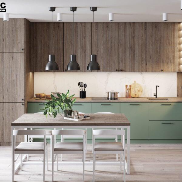 Дизайн-проект интерьера квартиры в ЖК «Синергия Сити», гостиная-кухня вид на обеденный стол