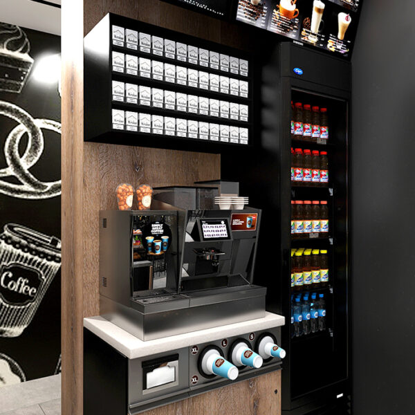Дизайн-проект інтер'єру кав'ярні, вид на автомат для напоїв