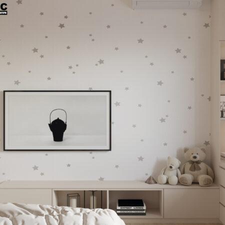 Дизайн-проект квартиры по ул. Семинарской, детская вид с кровати