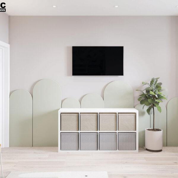 Дизайн-проект інтер'єра квартири у ЖК «Сінергія Сіті», дитяча вид на телевізор і тумбу