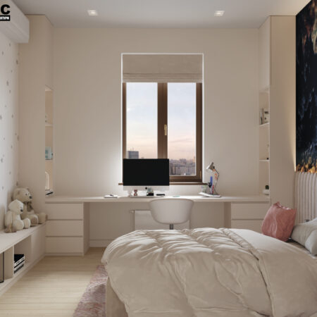 Дизайн-проект квартиры по ул. Семинарской, детская вид на окно