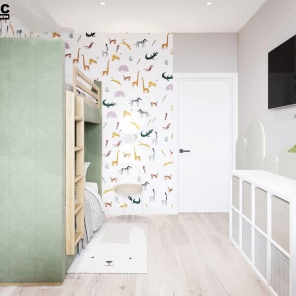 Дизайн-проект интерьера квартиры в ЖК «Синергия Сити» .детская вид на вход в комнату
