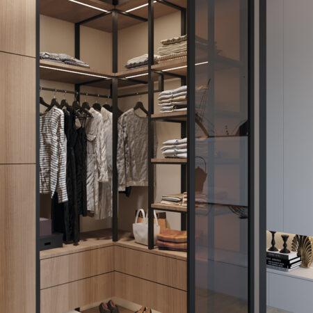 Дизайн-проект квартири по вул. Семінарській, гардероб вид під кутом на відчинений