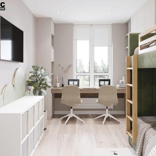 Дизайн-проект интерьера квартиры в ЖК «Синергия Сити», детская вид на окно