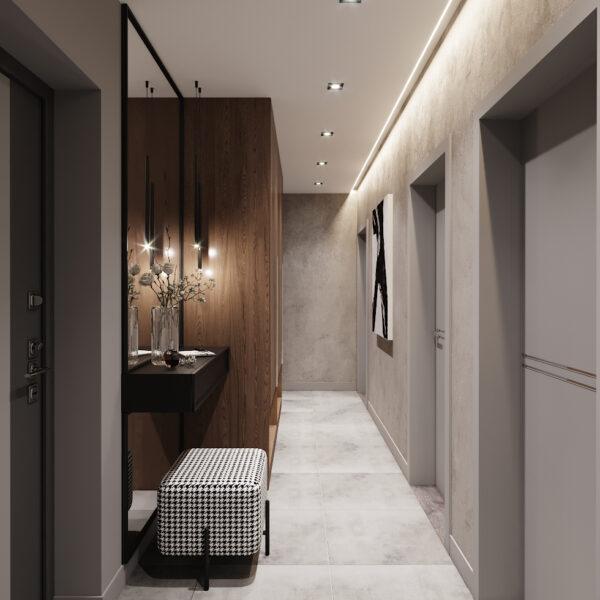 Дизайн интерьера двухкомнатной квартиры в ЖК «Архитекторов», прихожая вид справа