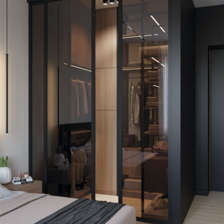 Дизайн-проект квартиры по ул. Семинарской, гардероб вид по центру