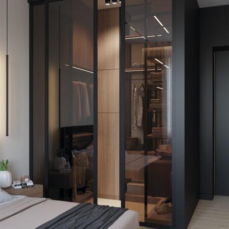 Дизайн-проект квартири по вул. Семінарській, гардероб вид на зачинені двері