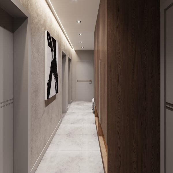 Дизайн интерьера двухкомнатной квартиры в ЖК «Архитекторов», прихожая вид слева