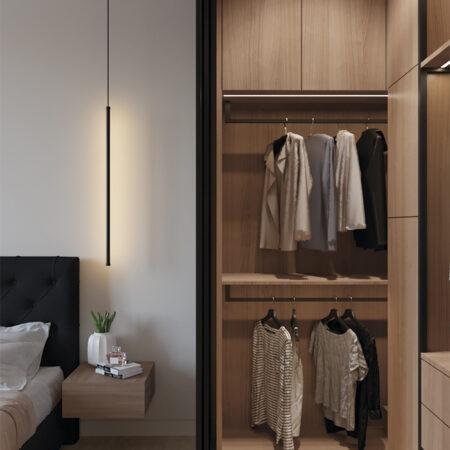Дизайн-проект квартиры по ул. Семинарской, гардероб с открытой дверью