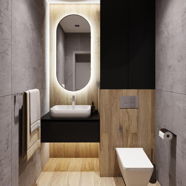 Дизайн интерьера двухкомнатной квартиры в ЖК «Архитекторов», санузел вид спереди