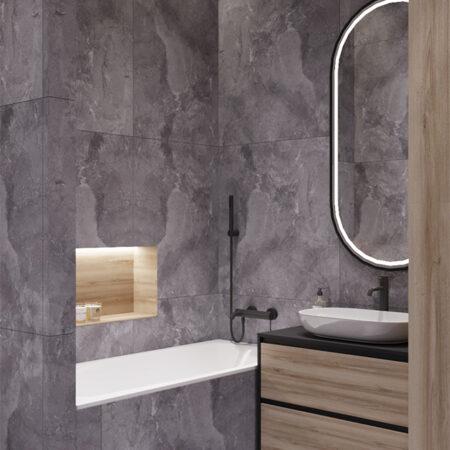 Дизайн-проект квартири по вул. Семінарській, ванна вид під кутом на дзеркало