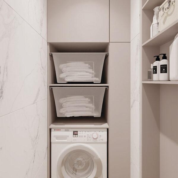 Дизайн-проект интерьера квартиры в ЖК «Синергия Сити», бытовая комната вид с закрытыми дверцами шкафа