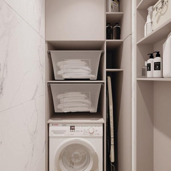 Дизайн-проект інтер'єра квартири у ЖК «Сінергія Сіті», побутова кімната виз відчиненими дверцятами