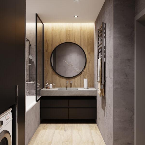 Дизайн интерьера двухкомнатной квартиры в ЖК «Архитекторов», санузел вид на зеркало