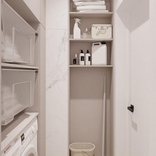 Дизайн-проект интерьера квартиры в ЖК «Синергия Сити», бытовая комната вид на правую сторону