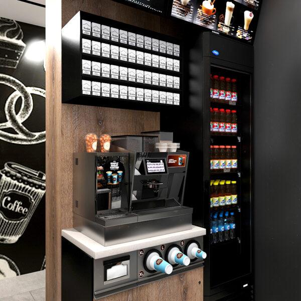 Дизайн-проект интерьера кафе, вид на автомат для напитков