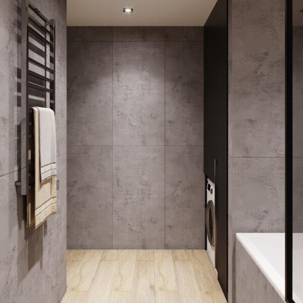 Дизайн интерьера двухкомнатной квартиры в ЖК «Архитекторов», санузел вид на вход в санузел
