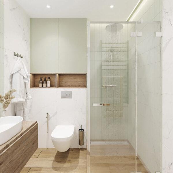Дизайн-проект интерьера квартиры в ЖК «Синергия Сити», санузел вид с правой стороны