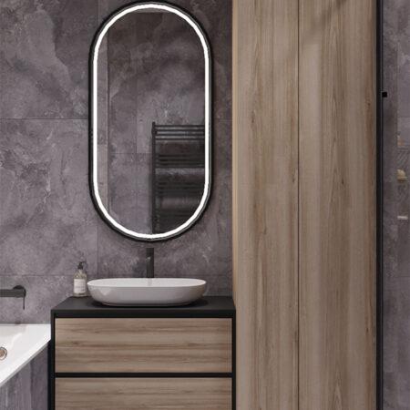 Дизайн-проект квартиры по ул. Семинарской, санузел вид на зеркало и тумбочку