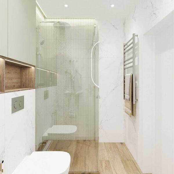 Дизайн-проект интерьера квартиры в ЖК «Синергия Сити», санузел вид на душевую кабинуд
