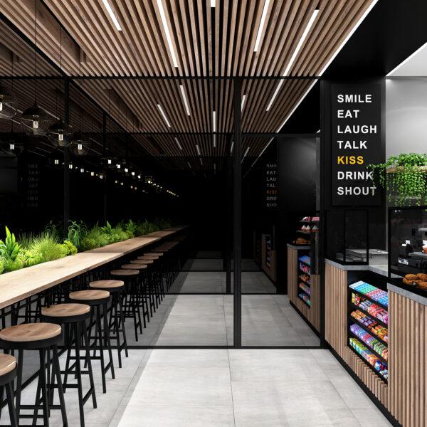 Дизайн-проект интерьера кафе, вид на окна