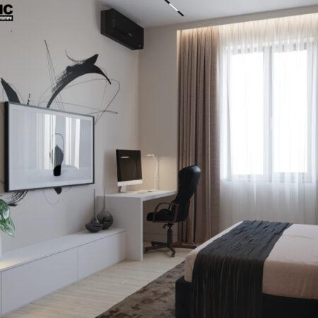 Дизайн-проект квартиры по ул. Семинарской, спальня вид под углом на туалетный столик