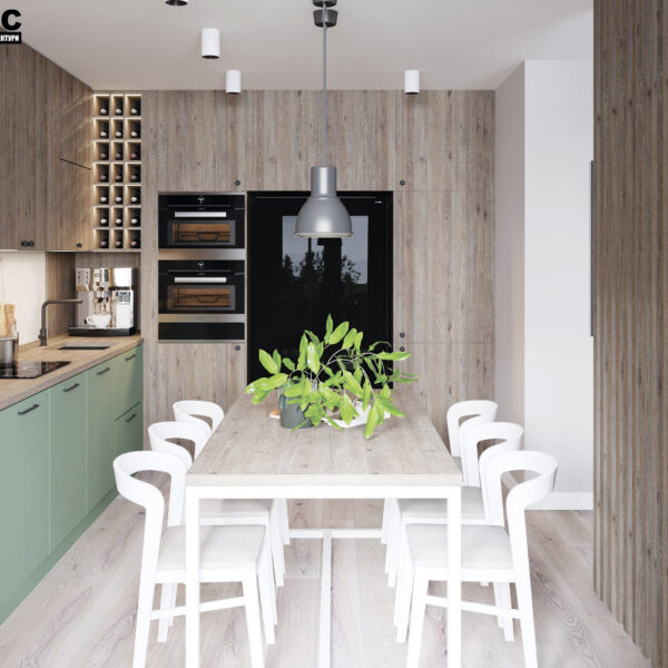 Дизайн-проект интерьера квартиры в ЖК «Синергия Сити», кухня-гостиная вид на стол и рабочую зону