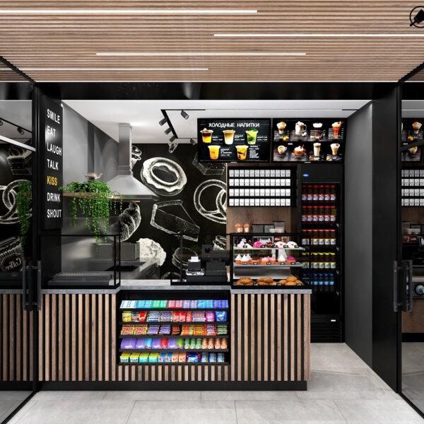 Дизайн-проект інтер'єру кав'ярні, вид на зал і кухню