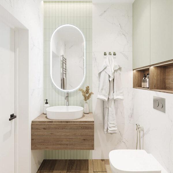 Дизайн-проект интерьера квартиры в ЖК «Синергия Сити», санузел вид на тумбу и зеркало