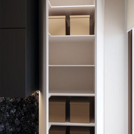 Дизайн-проект квартиры по ул. Семинарской, кухня вид на кухонный шкаф с открытыми дверцами