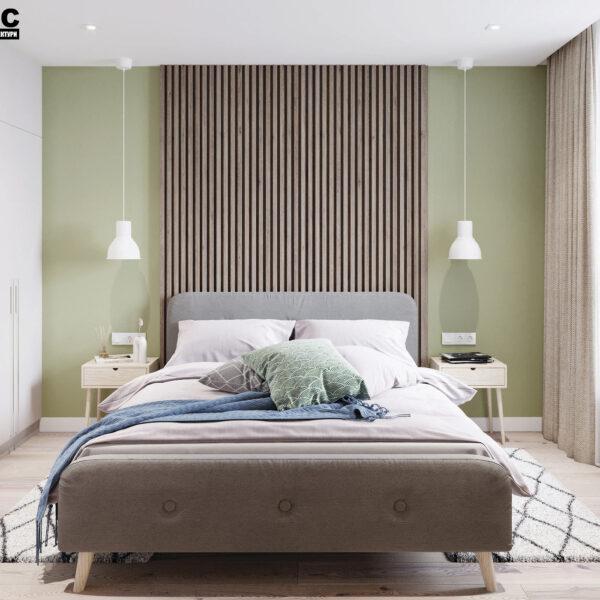 Дизайн-проект интерьера квартиры в ЖК «Синергия Сити», спальня вид на кровать по центру