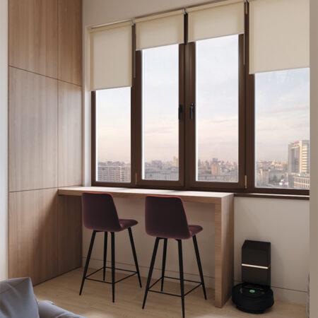 Дизайн-проект квартиры по ул. Семинарской, балкон вид на окно