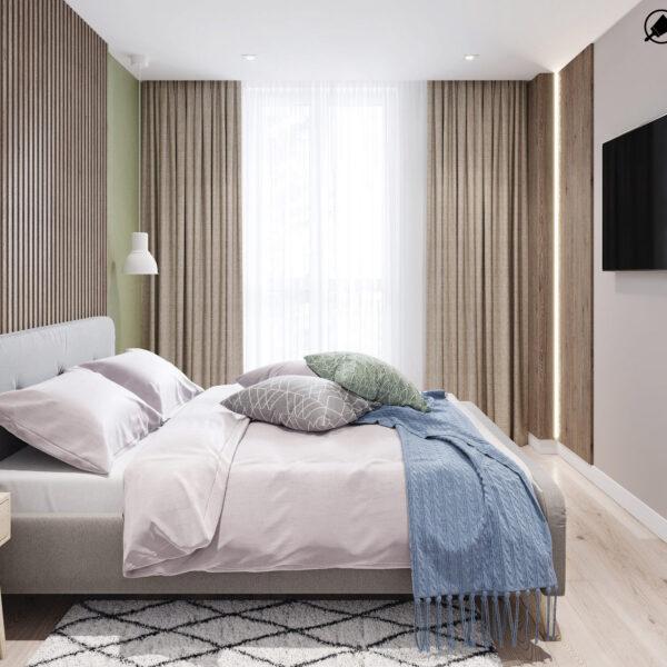 Дизайн-проект интерьера квартиры в ЖК «Синергия Сити», спальня вид на правую сторону кровати