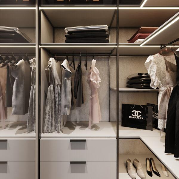 Дизайн интерьера двухкомнатной квартиры в ЖК «Архитекторов», гардероб вид справа