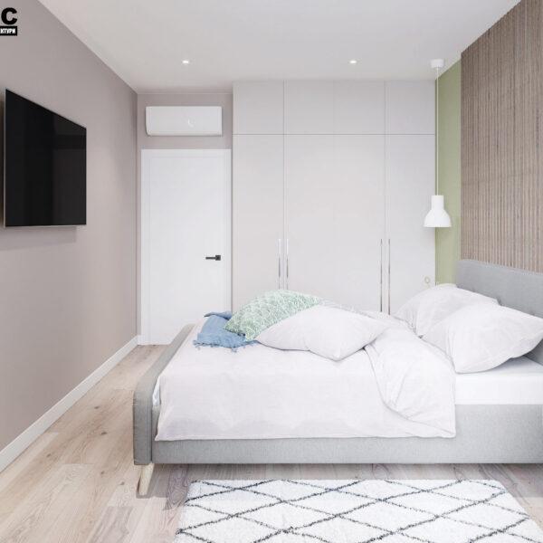 Дизайн-проект интерьера квартиры в ЖК «Синергия Сити», спальня вид на левую сторону кровати