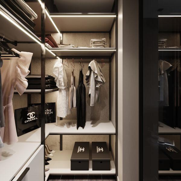 Дизайн интерьера двухкомнатной квартиры в ЖК «Архитекторов», гардероб вид слева