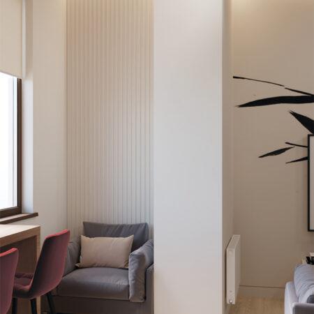 Дизайн-проект квартиры по ул. Семинарской, балкон вид под углом из комнаты