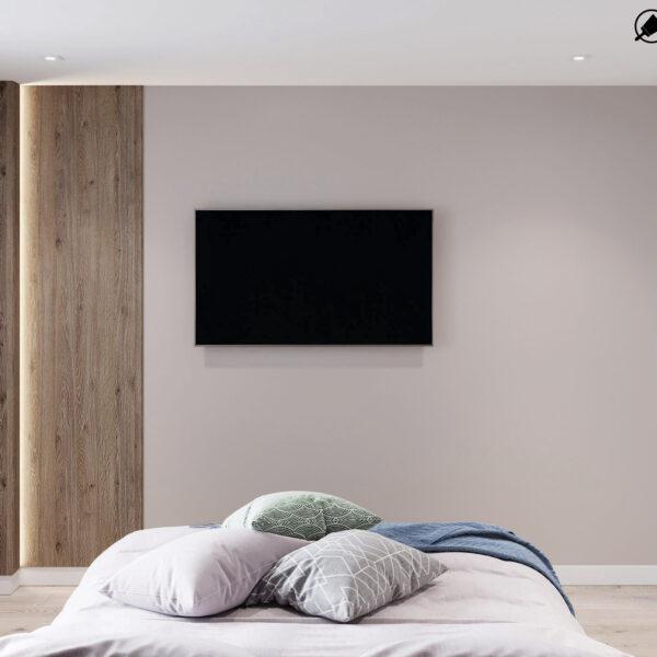 Дизайн-проект интерьера квартиры в ЖК «Синергия Сити», спальня вид с кровати
