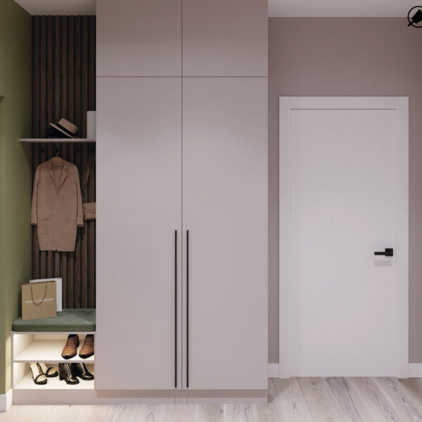 Дизайн-проект интерьера квартиры в ЖК «Синергия Сити», прихожая вид на закрытый шкаф