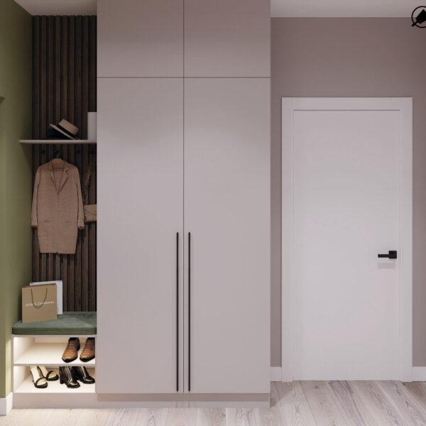 Дизайн-проект інтер'єра квартири у ЖК «Сінергія Сіті», передпокій вид на вхід і шафу