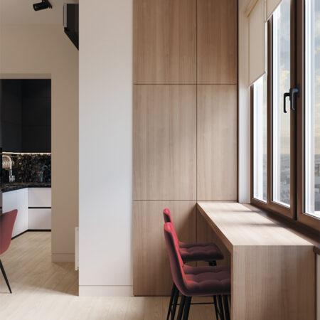 Дизайн-проект квартиры по ул. Семинарской, балкон вид на окно и зону отдыха