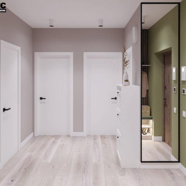 Дизайн-проект интерьера квартиры в ЖК «Синергия Сити», прихожая вид на двери в комнаты