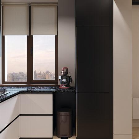 Дизайн-проект квартиры по ул. Семинарской, кухня вид под углом на окно