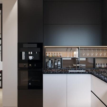 Дизайн-проект квартири по вул. Семінарській, кухня вид на робочу поверхню під кутом