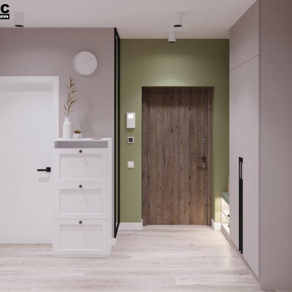 Дизайн-проект інтер'єра квартири у ЖК «Сінергія Сіті», передпокій вид на шафу з зачиненими дверима