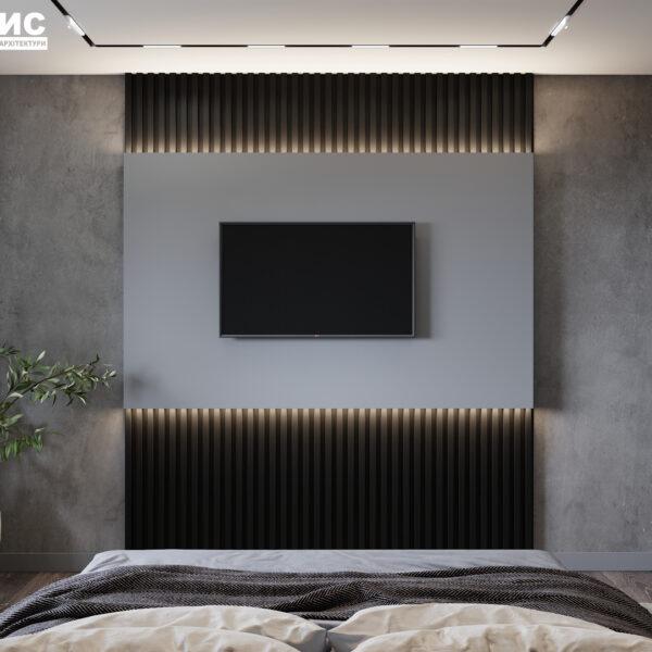 Дизайн интерьера двухкомнатной квартиры в ЖК «Архитекторов», спальня вид с кровати