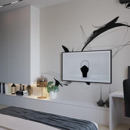 Дизайн-проект квартири по вул. Семінарській, спальня вид під кутом з ліжка