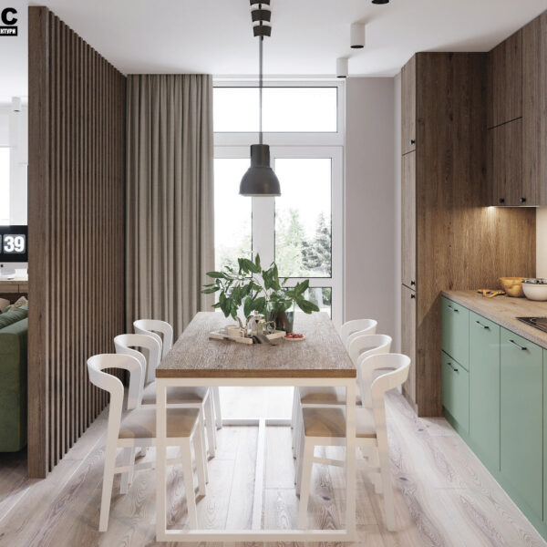Дизайн-проект интерьера квартиры в ЖК «Синергия Сити», кухня-гостиная вид на окно и рабочую зону