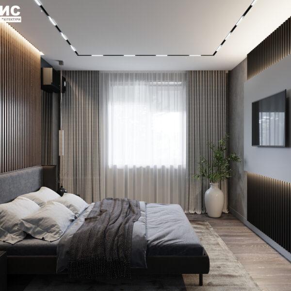 Дизайн интерьера двухкомнатной квартиры в ЖК «Архитекторов», спальня вид слева