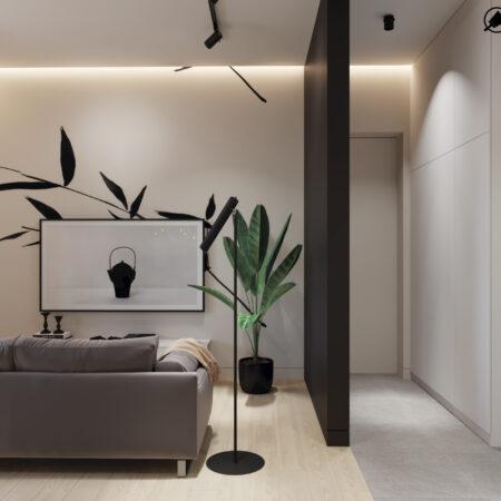 Дизайн-проект квартири по вул. Семінарській, вітальня вид на зону відпочинку
